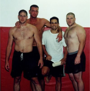2001, from L to R, UFC Fighter Rory Singer, Matt Thornton, Matt's 1st black belt, Luis Guiterrez, and original SBG coach and trainer of UFC Champion Forest Griffin, Adam Singer