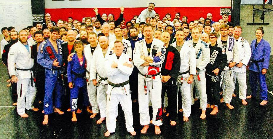 Matt, with his coach for the last two decades, BJJ Legend, Chris Haueter, and the SBG Tribe.